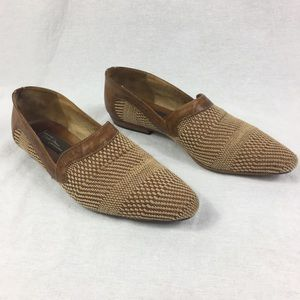 Sesto Meucci Vintage Brown Woven Leather Flats 9 N